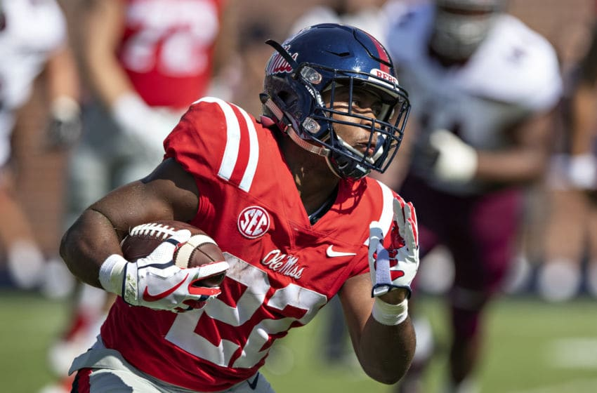 OXFORD, MS - SEPTEMBER 8: Scottie Phillips #22 of the Mississippi Rebels runs the ball against the Southern Illinois Salukis during the first half at Vaught-Hemingway Stadium on September 8, 2018 in Oxford, Mississippi. (Photo by Wesley Hitt/Getty Images)