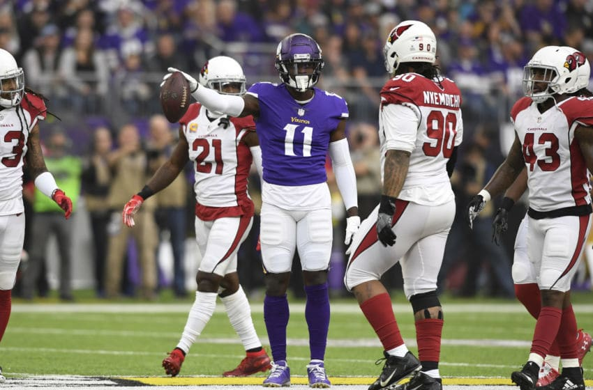 MINNEAPOLIS, MN - OCTOBER 14: Laquon Treadwell #11 of the Minnesota Vikings signals a first down after catching the ball in the first quarter of the game against the Arizona Cardinals at U.S. Bank Stadium on October 14, 2018 in Minneapolis, Minnesota. (Photo by Hannah Foslien/Getty Images)