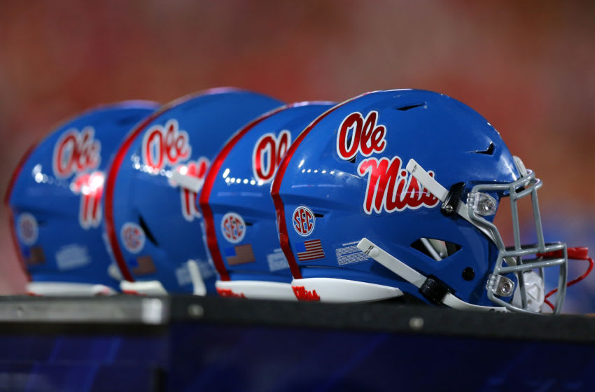 OXFORD, MISSISSIPPI - SEPTEMBER 07: A Mississippi Rebels helmet is pictured during a game against the Arkansas Razorbacks at Vaught-Hemingway Stadium on September 07, 2019 in Oxford, Mississippi. (Photo by Jonathan Bachman/Getty Images)