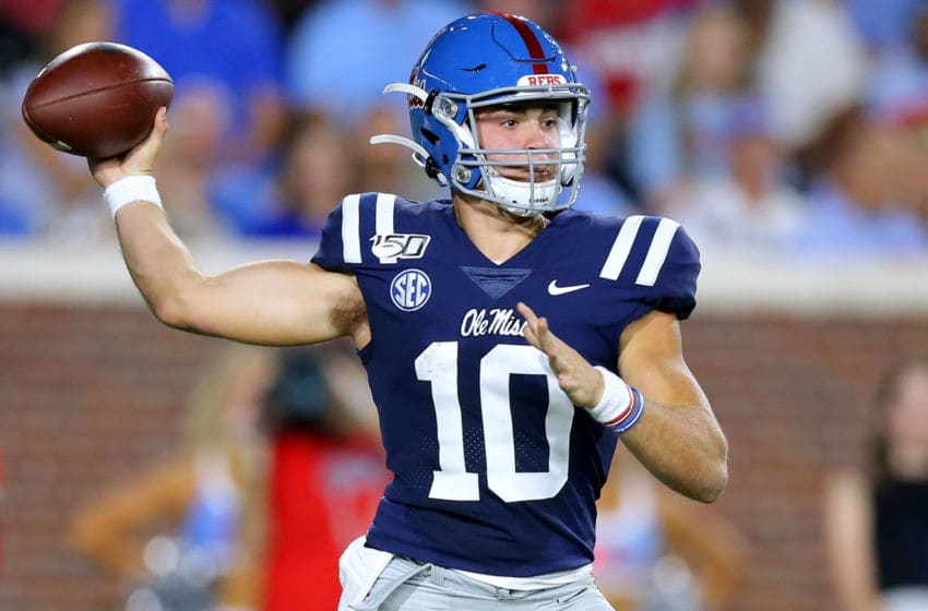 OXFORD, MISSISSIPPI - OCTOBER 05: John Rhys Plumlee #10 of the Mississippi Rebels throws the ball during the second half of a game against the Vanderbilt Commodores at Vaught-Hemingway Stadium on October 05, 2019 in Oxford, Mississippi. (Photo by Jonathan Bachman/Getty Images)