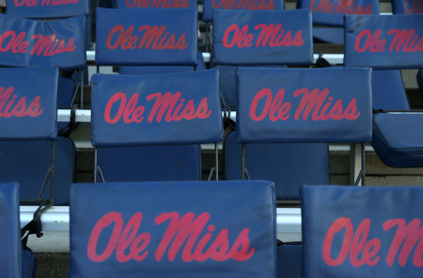 OXFORD, MISSISSIPPI - OCTOBER 05: The Ole Miss logo is seen before a game between the Mississippi Rebels and the Vanderbilt Commodores at Vaught-Hemingway Stadium on October 05, 2019 in Oxford, Mississippi. (Photo by Jonathan Bachman/Getty Images)