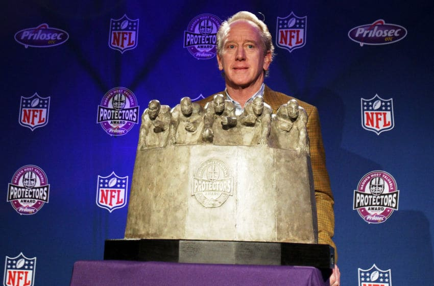 FT. LAUDERDALE, FL - FEBRUARY 03: New Orleans Saints legend Archie Manning poses with the award on behalf of the New Orleans Saints offensive line during the Madden Most Valuable Protectors Award Press Conference on February 3, 2010 at the Ft. Lauderdale Convention Center in Ft. Lauderdale, Florida. The New Orleans offensive line won the award. (Photo by Elsa/Getty Images)