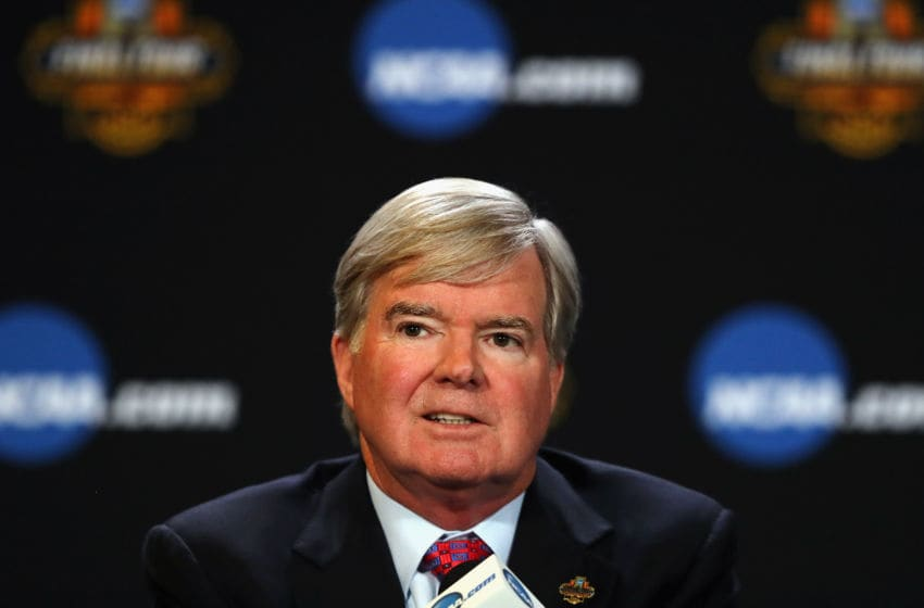 GLENDALE, AZ - MARCH 30: NCAA President Mark Emmert speaks with the media during a press conference for the 2017 NCAA Men's Basketball Final Four at University of Phoenix Stadium on March 30, 2017 in Glendale, Arizona. (Photo by Tim Bradbury/Getty Images)