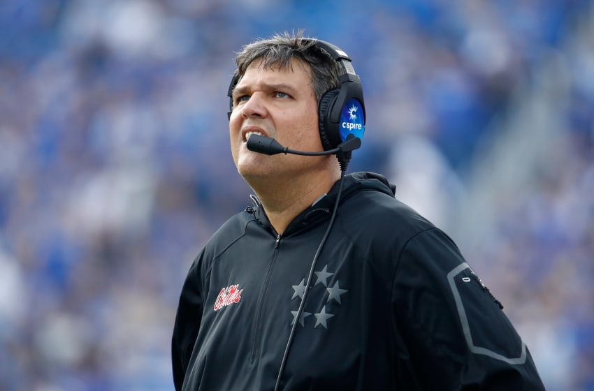 LEXINGTON, KY - NOVEMBER 04: Matt Luke the head coach of the Mississippi Rebels watches the action against the Kentucky Wildcats at Commonwealth Stadium on November 4, 2017 in Lexington, Kentucky. (Photo by Andy Lyons/Getty Images)