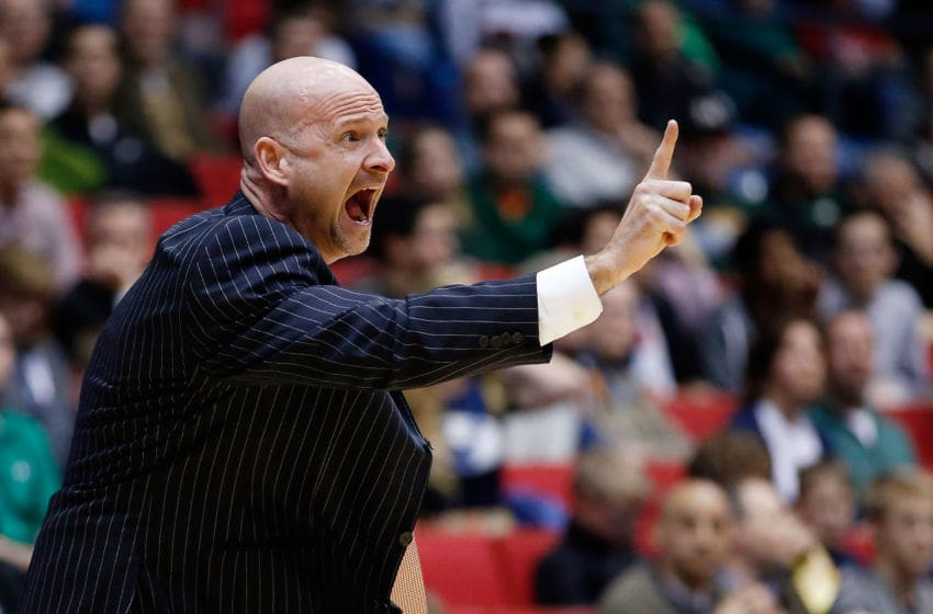 DAYTON, OH - MARCH 17: Head coach Andy Kennedy of the Mississippi Rebels reacts against the Brigham Young Cougars during the first round of the 2015 NCAA Men's Basketball Tournament at UD Arena on March 17, 2015 in Dayton, Ohio. (Photo by Gregory Shamus/Getty Images)
