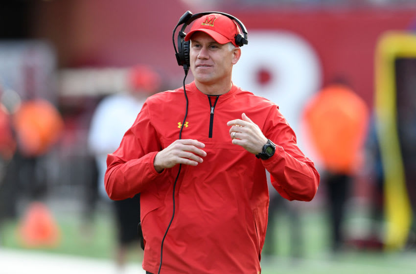 PISCATAWAY, NJ - NOVEMBER 04: Head coach D.J. Durkin of the Maryland Terrapins watches the game against the Rutgers Scarlet Knights on November 4, 2017 in Piscataway, New Jersey. (Photo by G Fiume/Maryland Terrapins/Getty Images)