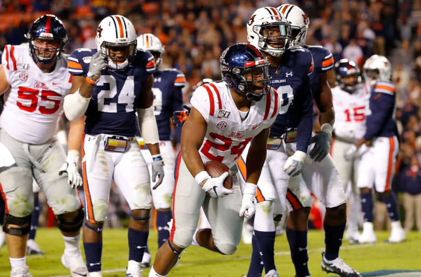 AUBURN, ALABAMA - NOVEMBER 02: Snoop Conner #24 of the Mississippi Rebels reacts after rushing for a touchdown against the Auburn Tigers in the second half at Jordan-Hare Stadium on November 02, 2019 in Auburn, Alabama. (Photo by Kevin C. Cox/Getty Images)