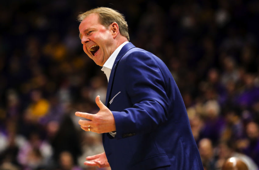 Feb 1, 2020; Baton Rouge, Louisiana, USA; Mississippi Rebels head coach Kermit Davis during the first half against the LSU Tigers at the Maravich Assembly Center. Mandatory Credit: Derick E. Hingle-USA TODAY Sports