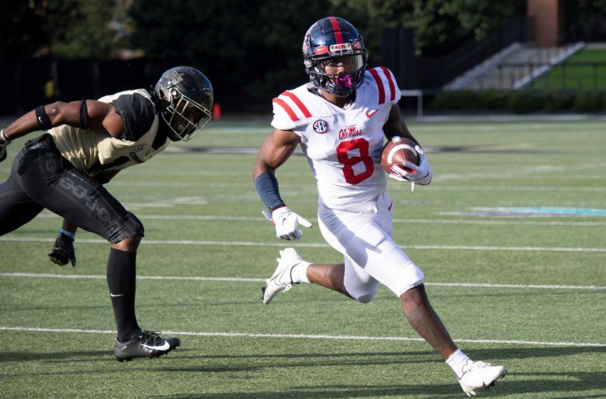 Mississippi wide receiver Elijah Moore (8) drives into the end zone for a touchdown past Vanderbilt during the second quarter at Vanderbilt Stadium Saturday, Oct. 31, 2020 in Nashville, Tenn. Nas Vandy Olemiss 028