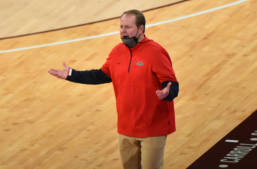 Jan 19, 2021; Starkville, Mississippi, USA; Mississippi Rebels head coach Kermit Davis reacts during the first half against the Mississippi State Bulldogs at Humphrey Coliseum. Mandatory Credit: Justin Ford-USA TODAY Sports