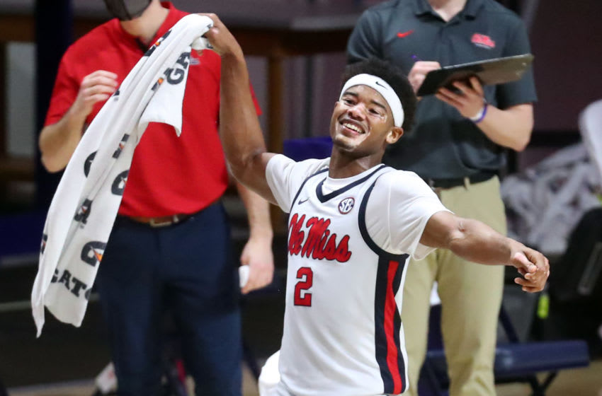 Feb 10, 2021; Oxford, Mississippi, USA; Mississippi Rebels guard Devontae Shuler (2) celebrates after the Mississippi Rebels defeated the Missouri Tigers at The Pavilion at Ole Miss. Mandatory Credit: Petre Thomas-USA TODAY Sports