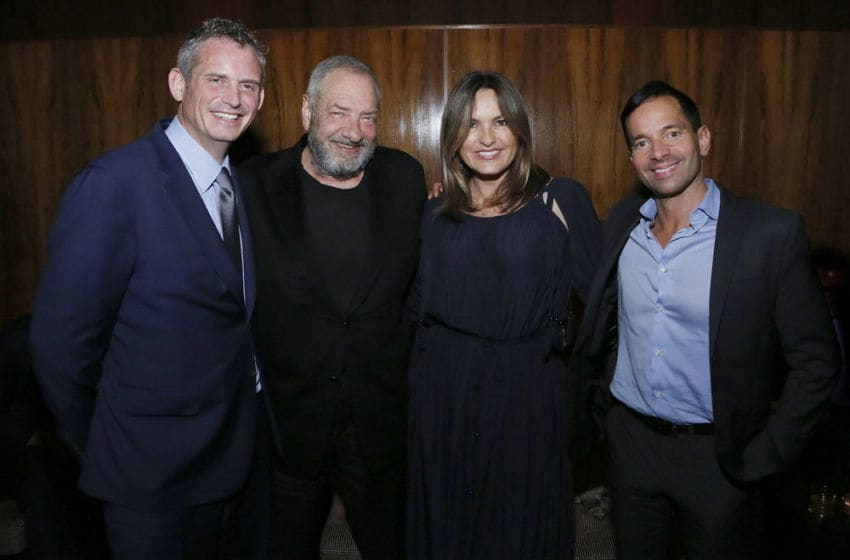 NBCUNIVERSAL UPFRONT EVENTS -- NBC's Party at THE POOL Celebrating NBC's New Season -- Pictured: (l-r) Paul Telegdy, Co-Chairman, NBC Entertainment; Executive Producer Dick Wolfe, Mariska Hargitay,
