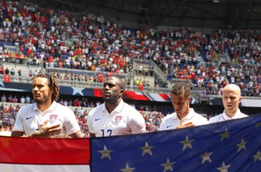 Jun 1, 2014; Harrison, NJ, USA; Players of the United States mens soccer team stand during the national anthem before taking on Turkey in their international friendly soccer match at Red Bull Arena. Mandatory Credit: Adam Hunger-USA TODAY Sports