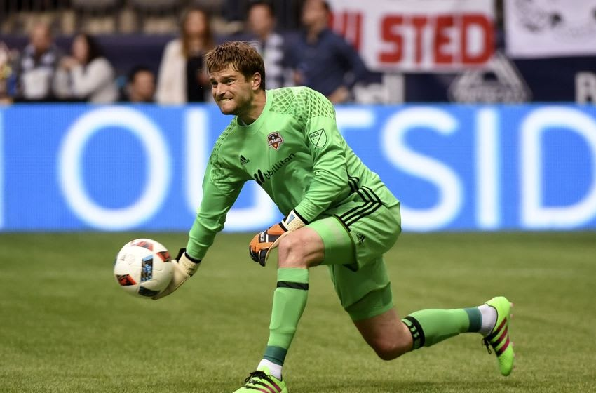 May 28, 2016; Vancouver, British Columbia, CAN; Houston Dynamo goalkeeper Tyler Deric (1) throws the ball during the second half Vancouver Whitecaps goalkeeper David Ousted (1) at BC Place. The Vancouver Whitecaps tied the Houston Dynamo 1-1. Mandatory Credit: Anne-Marie Sorvin-USA TODAY Sports