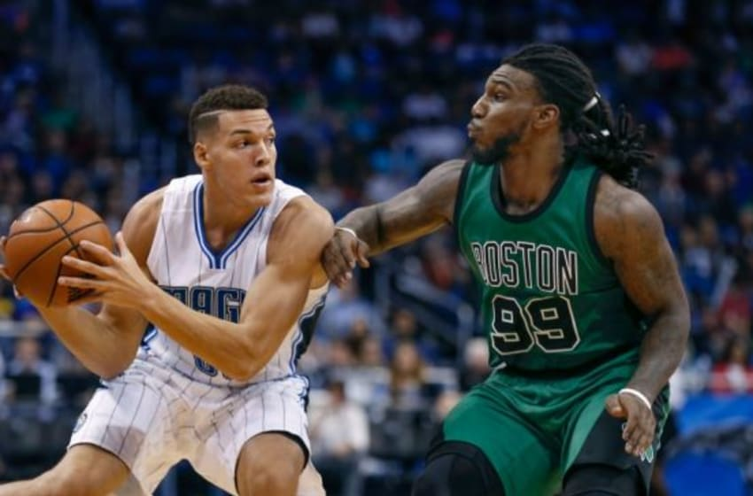 Nov 29, 2015; Orlando, FL, USA; Boston Celtics forward Jae Crowder (99) guards Orlando Magic forward Aaron Gordon (00) during the second half of a basketball game at Amway Center. Mandatory Credit: Reinhold Matay-USA TODAY Sports