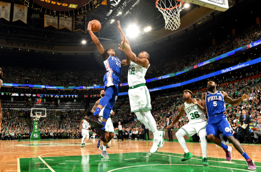 BOSTON, MA - OCTOBER 16: Markelle Fultz #20 of the Philadelphia 76ers shoots the ball against the Boston Celtics during a game on October 16, 2018 at TD Garden in Boston, Massachusetts. NOTE TO USER: User expressly acknowledges and agrees that, by downloading and or using this photograph, User is consenting to the terms and conditions of the Getty Images License Agreement. Mandatory Copyright Notice: Copyright 2018 NBAE (Photo by Jesse D. Garrabrant/NBAE via Getty Images)