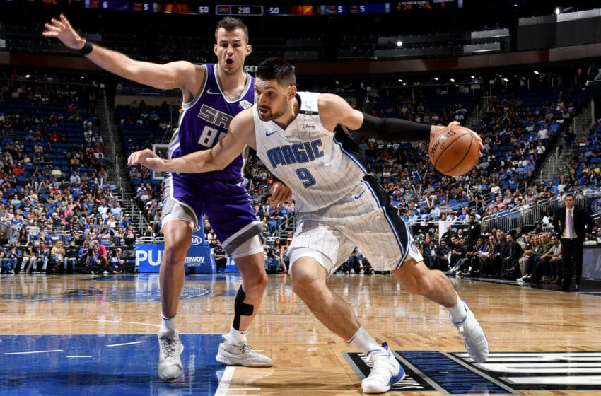 ORLANDO, FL - OCTOBER 30: Nikola Vucevic #9 of the Orlando Magic handles the ball against the Sacramento Kings on October 30, 2018 at Amway Center in Orlando, Florida. NOTE TO USER: User expressly acknowledges and agrees that, by downloading and/or using this Photograph, user is consenting to the terms and conditions of the Getty Images License Agreement. Mandatory Copyright Notice: Copyright 2018 NBAE (Photo by Fernando Medina/NBAE via Getty Images)