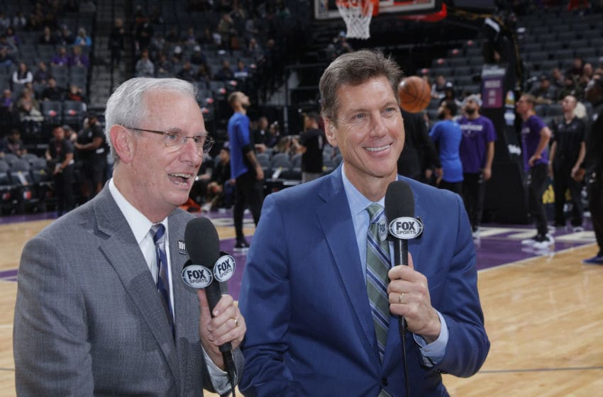 SACRAMENTO, CA - JANUARY 7: Play-by-play announcer David Steele and color analyst Jeff Turner prior to the game between the Orlando Magic and Sacramento Kings on January 7, 2019 at Golden 1 Center in Sacramento, California. NOTE TO USER: User expressly acknowledges and agrees that, by downloading and or using this photograph, User is consenting to the terms and conditions of the Getty Images Agreement. Mandatory Copyright Notice: Copyright 2019 NBAE (Photo by Rocky Widner/NBAE via Getty Images)