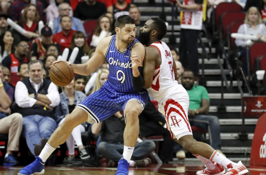 The Orlando Magic hope they will have Nikola Vucevic back from an ankle injury when they take on James Harden and the Houston Rockets. (Photo by Tim Warner/Getty Images)