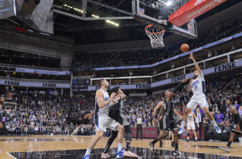 Evan Fournier made the big play late to save the Orlando Magic against the Sacramento Kings. (Photo by Rocky Widner/NBAE via Getty Images)