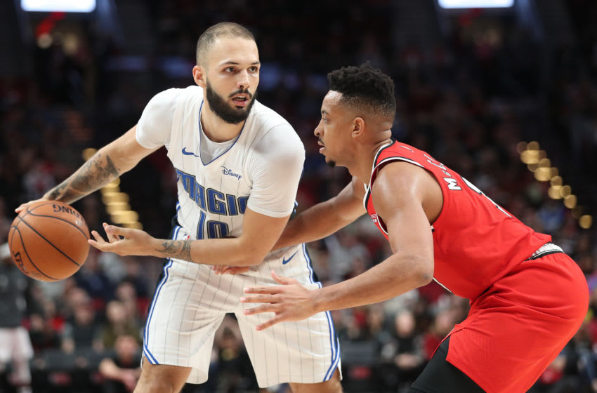 Evan Fournier has put in a career year that has somehow been overshadowed by questions of the Orlando Magic's future. (Photo by Abbie Parr/Getty Images)