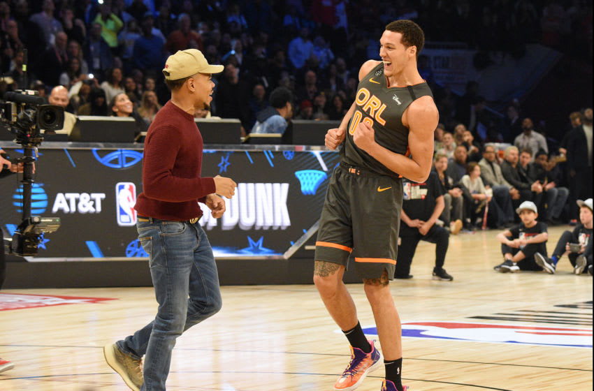 Aaron Gordon delighted the fans and won their vote it seemed, but the judges took another dunk title from him. (Photo by Kevin Mazur/Getty Images)