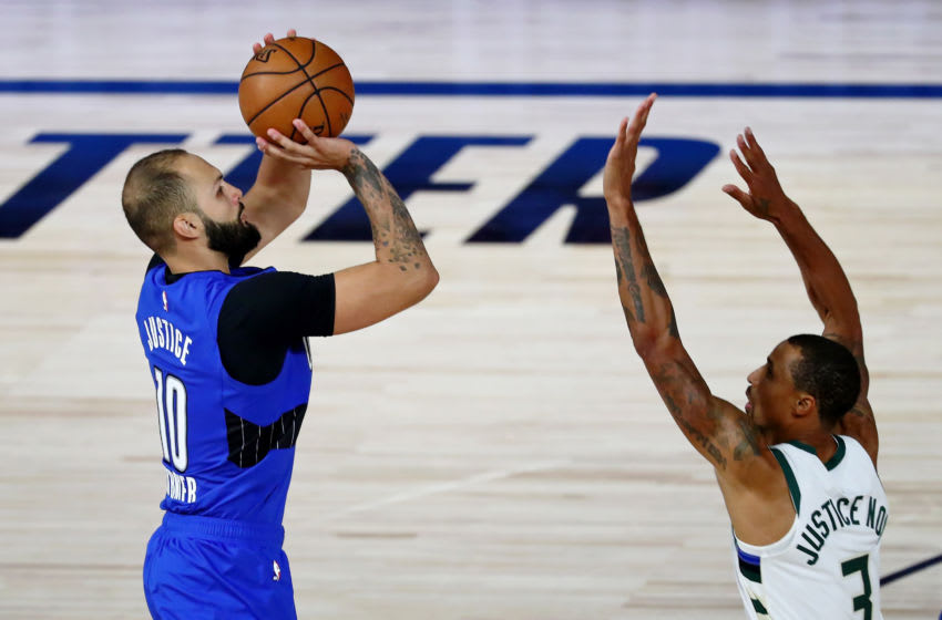 Evan Fournier hit a couple of big shots in Game 1. But he knows Game 2 will be tougher for the Orlando Magic. (Photo by Kim Klement-Pool/Getty Images)