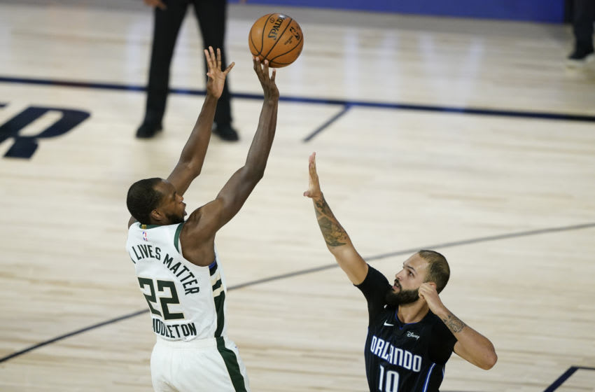 Khris Middleton tortured the Orlando Magic's defense in the fourth quarter to pull away for a big win. (Photo by Ashley Landis-Pool/Getty Images)