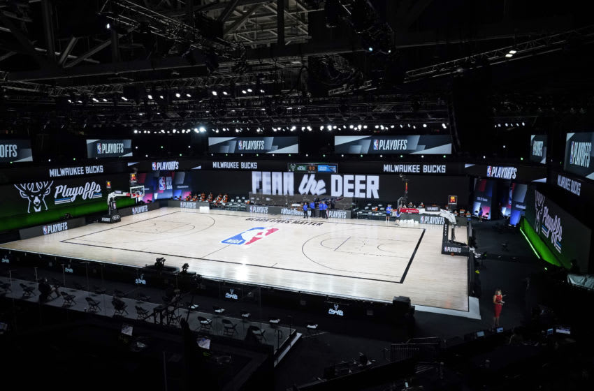 AdventHealth Arena sat empty as the Milwaukee Bucks and Orlando Magic sat out their scheduled Game 5. (Photo by Ashley Landis-Pool/Getty Images)