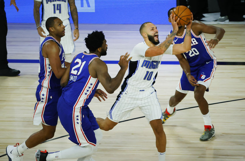 Evan Fournier and the Orlando Magic again struggled from deep as they saw their lead slip away. (Photo by Kevin C. Cox/Getty Images)