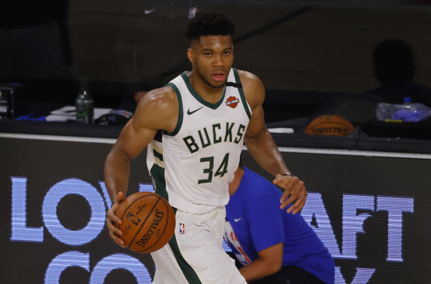 Giannis Antetokounmpo proved a force too strong for the Orlando Magic to stop in Game 3. (Photo by Mike Ehrmann/Getty Images)