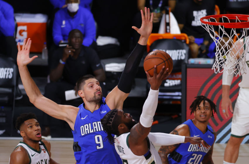 Nikola Vucevic shined the brightest in the Orlando Magic's playoff series, but the team's future is uncertain. (Photo by Kevin C. Cox/Getty Images)