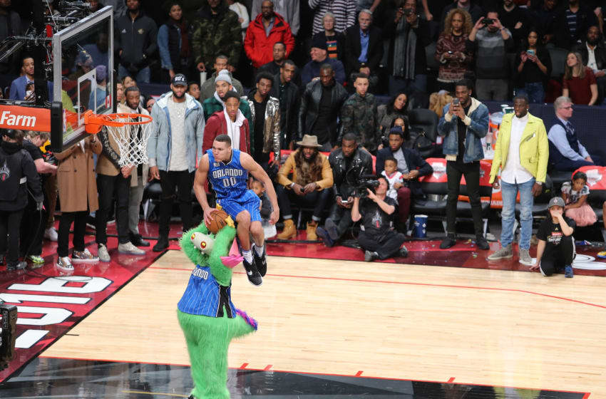 Aaron Gordon's sit-down dunk may be one of the best dunks in Dunk Contest history. (Photo by Vaughn Ridley/Getty Images)