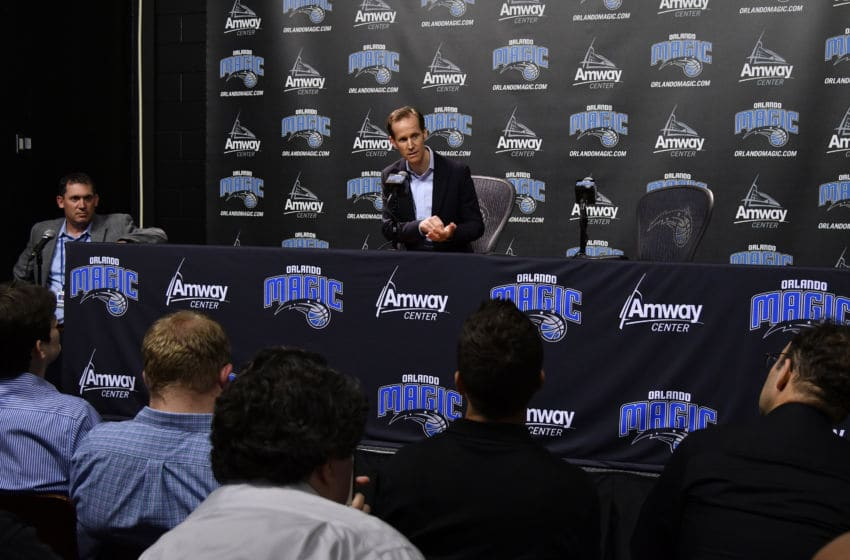 ORLANDO, FL - JUNE 22: Orlando Magic President of Basketball Operations Jeff Weltman addresses the media during the 2017 NBA Draft on June 22, 2017 at Amway Center in Orlando, Florida. NOTE TO USER: User expressly acknowledges and agrees that, by downloading and or using this photograph, User is consenting to the terms and conditions of the Getty Images License Agreement. Mandatory Copyright Notice: Copyright 2017 NBAE (Photo by Fernando Medina/NBAE via Getty Images)