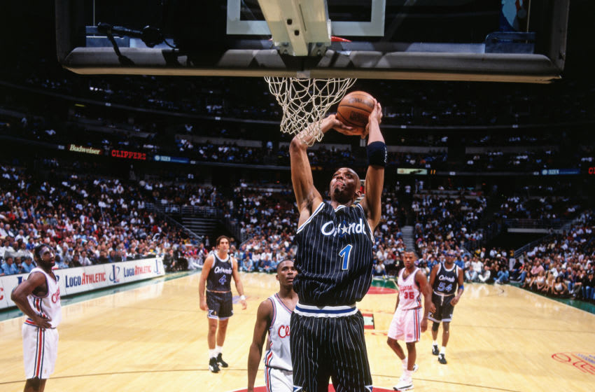 Anfernee Hardaway sported the Orlando Magic's original pinstripes jersey, a classic that still creates buzz around the league. (Photo by Andrew D Bernstein/NBAE via Getty Images)