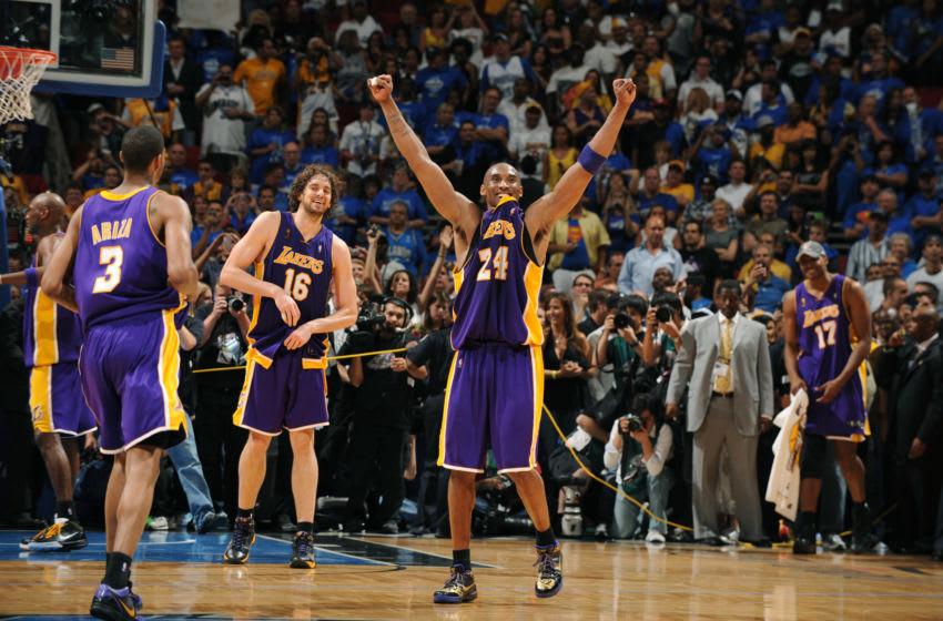 Kobe Bryant celebrated his legacy-defining NBA championship on the Orlando Magic's parquet floor. (Photo by Garrett Ellwood/NBAE via Getty Images)