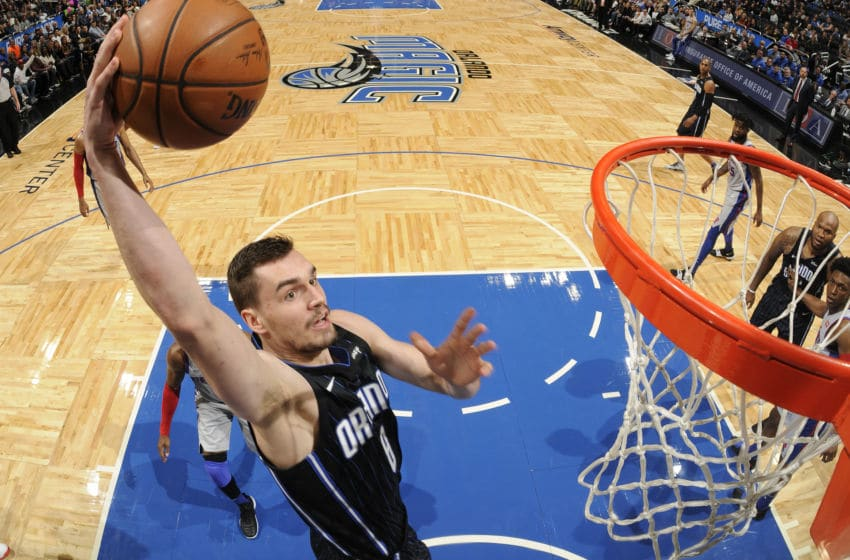 ORLANDO, FL - DECEMBER 28: Mario Hezonja #8 of the Orlando Magic dunks the ball against the Detroit Pistons on December 28, 2017 at Amway Center in Orlando, Florida. NOTE TO USER: User expressly acknowledges and agrees that, by downloading and or using this photograph, User is consenting to the terms and conditions of the Getty Images License Agreement. Mandatory Copyright Notice: Copyright 2017 NBAE (Photo by Fernando Medina/NBAE via Getty Images)