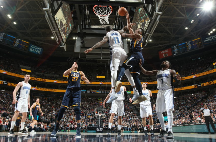 SALT LAKE CITY, UT - MARCH 5: Donovan Mitchell #45 of the Utah Jazz shoots the ball during the game against the Orlando Magic on March 5, 2018 at vivint.SmartHome Arena in Salt Lake City, Utah. NOTE TO USER: User expressly acknowledges and agrees that, by downloading and or using this Photograph, User is consenting to the terms and conditions of the Getty Images License Agreement. Mandatory Copyright Notice: Copyright 2018 NBAE (Photo by Melissa Majchrzak/NBAE via Getty Images)
