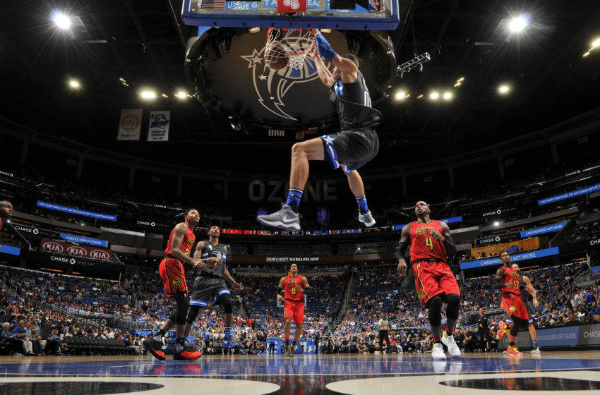 ORLANDO, FL - FEBRUARY 25: Aaron Gordon #00 of the Orlando Magic dunks against the Atlanta Hawks on February 25, 2017 at Amway Center in Orlando, Florida. NOTE TO USER: User expressly acknowledges and agrees that, by downloading and or using this photograph, User is consenting to the terms and conditions of the Getty Images License Agreement. Mandatory Copyright Notice: Copyright 2017 NBAE (Photo by Fernando Medina/NBAE via Getty Images)