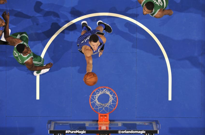 ORLANDO, FL - NOVEMBER 5: Aaron Gordon #00 of the Orlando Magic shoots the ball against the Boston Celtics on November 5, 2017 at Amway Center in Orlando, Florida. NOTE TO USER: User expressly acknowledges and agrees that, by downloading and or using this photograph, User is consenting to the terms and conditions of the Getty Images License Agreement. Mandatory Copyright Notice: Copyright 2017 NBAE (Photo by Fernando Medina/NBAE via Getty Images)