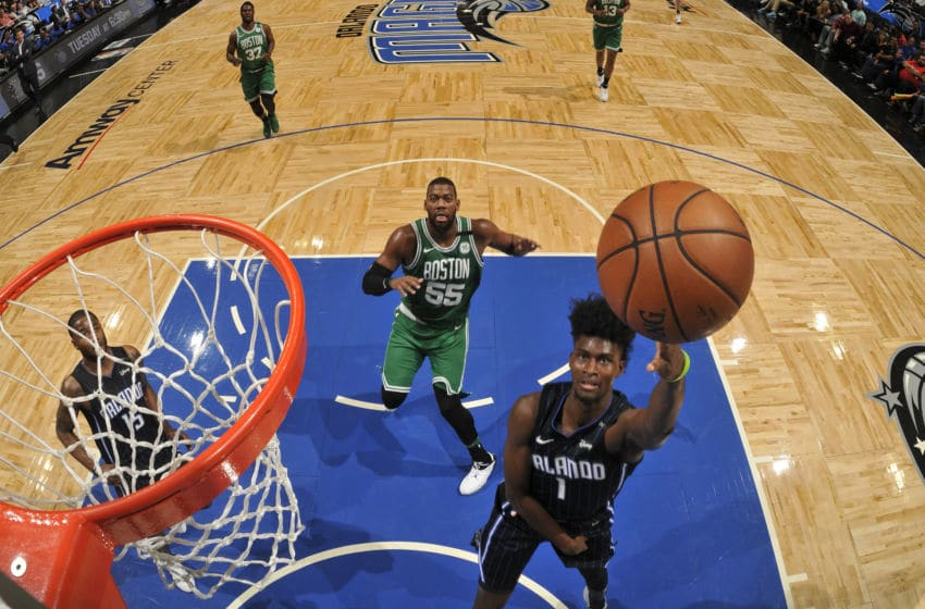 ORLANDO, FL - MARCH 16: Jonathan Isaac #1 of the Orlando Magic shoots the ball against the Boston Celtics on March 16, 2018 at Amway Center in Orlando, Florida. NOTE TO USER: User expressly acknowledges and agrees that, by downloading and or using this photograph, User is consenting to the terms and conditions of the Getty Images License Agreement. Mandatory Copyright Notice: Copyright 2018 NBAE (Photo by Fernando Medina/NBAE via Getty Images)