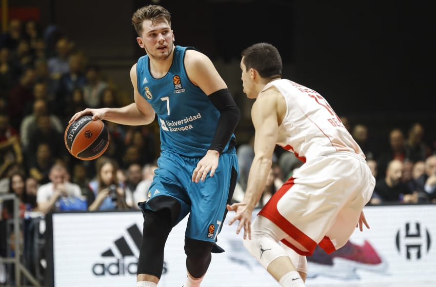 BELGRADE, SERBIA - MARCH 30: Luka Doncic (L) of Real Madrid in action against Ognjen Dobric (R) of Crvena Zvezda during the 2017/2018 Turkish Airlines EuroLeague Regular Season game between Crvena Zvezda mts Belgrade and Real Madrid at Aleksandar Nikolic Hall on March 30, 2018 in Belgrade, Serbia. (Photo by Srdjan Stevanovic/Getty Images)