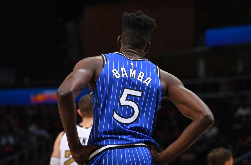 ATLANTA, GA - JANUARY 21: Mo Bamba #5 of the Orlando Magic looks on during the game against the Atlanta Hawks on January 21, 2019 at State Farm Arena in Atlanta, Georgia. NOTE TO USER: User expressly acknowledges and agrees that, by downloading and/or using this photograph, user is consenting to the terms and conditions of the Getty Images License Agreement. Mandatory Copyright Notice: Copyright 2019 NBAE (Photo by Garrett Ellwood/NBAE via Getty Images)