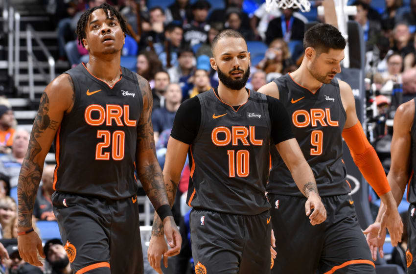 ORLANDO, FL - JANUARY 6: Markelle Fultz #20, and Evan Fournier #10 of the Orlando Magic walk on the court during the game against the Brooklyn Nets on January 6, 2020 at Amway Center in Orlando, Florida. NOTE TO USER: User expressly acknowledges and agrees that, by downloading and or using this photograph, User is consenting to the terms and conditions of the Getty Images License Agreement. Mandatory Copyright Notice: Copyright 2020 NBAE (Photo by Fernando Medina/NBAE via Getty Images)