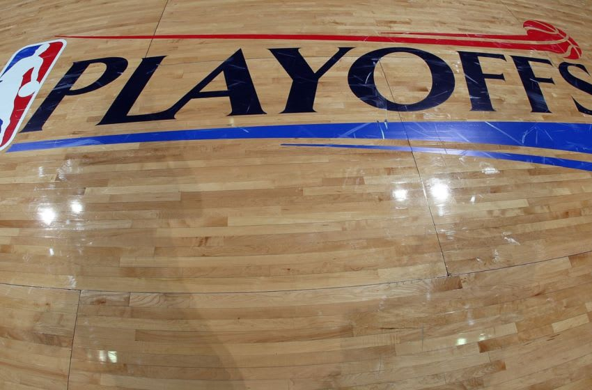 SAN ANTONIO - APRIL 18: The logo of the NBA Playoffs logo after play between the Dallas Mavericks and the San Antonio Spurs in Game One of the Western Conference Quarterfinals during the 2009 NBA Playoffs at AT&T Center on April 18, 2009 in San Antonio, Texas. NOTE TO USER: User expressly acknowledges and agrees that, by downloading and or using this photograph, User is consenting to the terms and conditions of the Getty Images License Agreement. (Photo by Ronald Martinez/Getty Images)