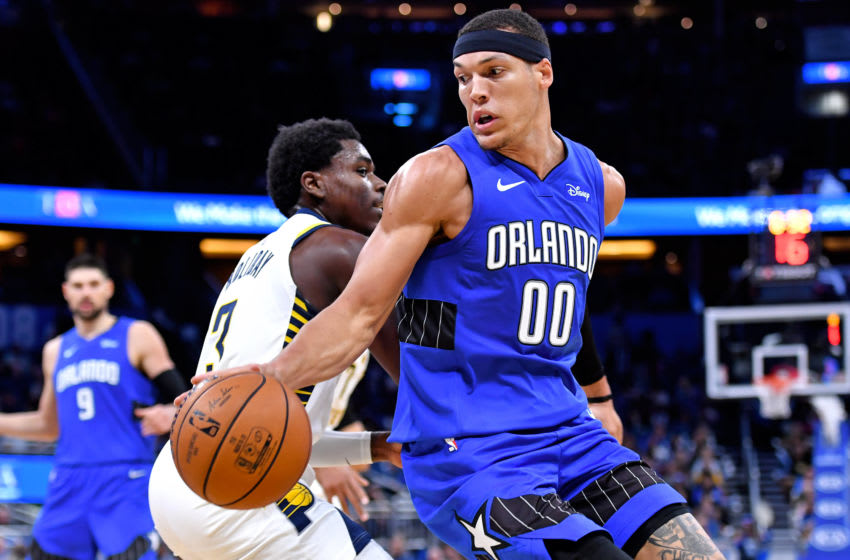 The Orlando Magic's search to improve their roster may finally lead them to conclude Aaron Gordon no longer fits. Mandatory Credit: Steve Mitchell-USA TODAY Sports