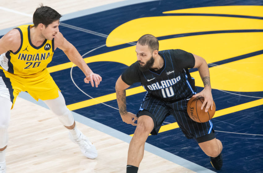 Evan Fournier got himself rolling. But the Orlando Magic fell short against the Indiana Pacers. Mandatory Credit: Trevor Ruszkowski-USA TODAY Sports