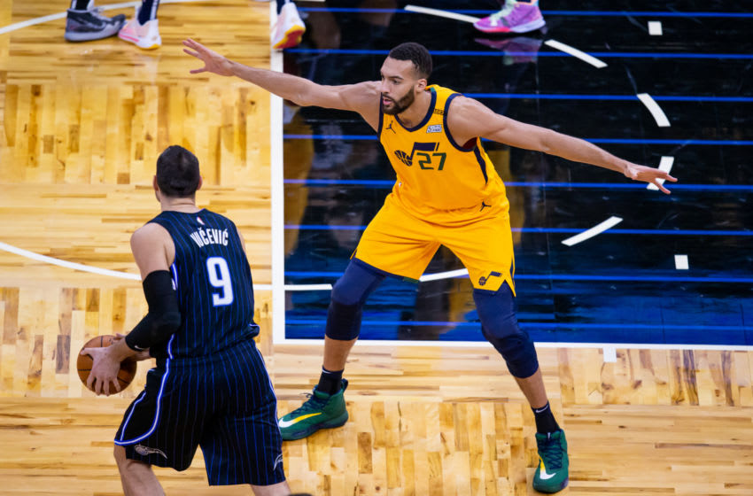 The Orlando Magic got Nikola Vucevic going but could not find much more against Rudy Gobert and the Utah Jazz. Mandatory Credit: Mary Holt-USA TODAY Sports
