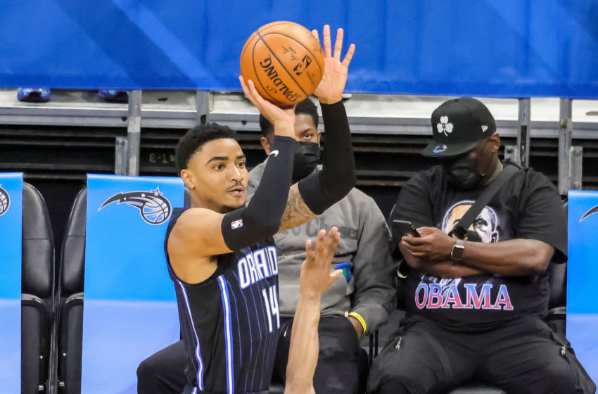 May 5, 2021; Orlando, Florida, USA; Orlando Magic guard Gary Harris (14) shoots the ball during the first quarter against the Boston Celtics at Amway Center. Mandatory Credit: Mike Watters-USA TODAY Sports