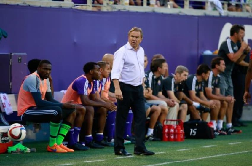 Jul 11, 2015; Orlando, FL, USA; Orlando City SC head coach Adrian Heath against the FC Dallas during the first half at Orlando Citrus Bowl Stadium. Mandatory Credit: Kim Klement-USA TODAY Sports